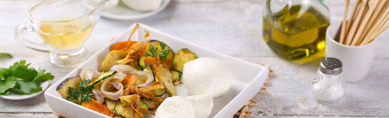 Scapece de légumes et Mozzarelline Fior di Latte